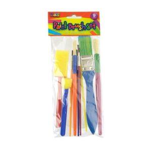 Paintbrush Set, Foam and Bristle, 9 pack