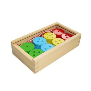 Wooden Lacing Buttons, 40 pieces