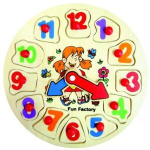 Wooden Puzzle Clock, 12 pieces